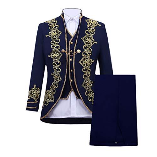 Zolimx Herren Slim Anzug Applique Leistungsanzug Frack Blazer Jacke Retro Gothic Steampunk Uniform Abendkleid Praty Kostüm Smoking Jacke + Hosen + Weste 3Pcs Dreiteiliger Anzüge (Marine, ()