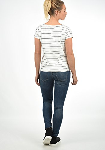 JACQUELINE de YONG AVA T-Shirt Kurzarm Shirt mit Rundhals-Ausschnitt Aus Hochwertiger Baumwollmischung mit Streifen Cloud Dancer / Black Pinstripes