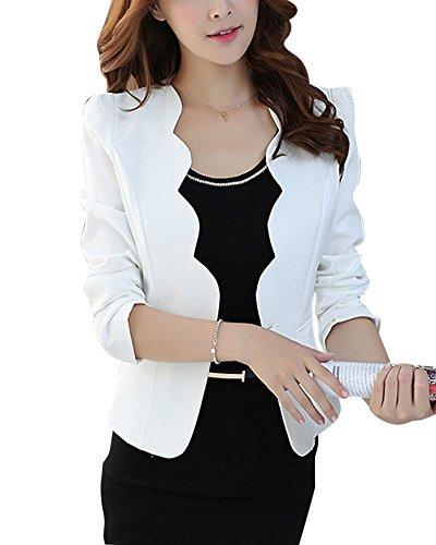 Donna blazer slim fit maniche lunghe corta giacca casual jacket bianco m