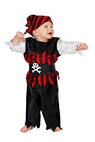 Mädchen Kostüm Piraten Kleinkind Für - Piraten-Kostüm Klein-Kinder Oberteil mit Hose Schwarz Rot und Hose mit Gummizug und Piraten-Tuch Kinderkostüm Pirat Freibeuter Karneval Fasching Hochwertige Verkleidung Fastnacht Größe 80 Schwarz/Rot