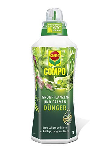 COMPO Grünpflanzen- und Palmendünger für alle Zimmer-, Balkon- und Terrassenpflanzen, Spezial-Flüssigdünger mit extra Kalium und Eisen, 1 Liter