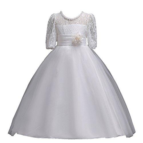 Mbby vestiti damigella bambine,4-14 anni vestito da carnevale per bambina abiti cerimonia principessa in pizzo manica corte a fiori tulle abito tutu per ragazza