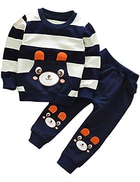 FNKDOR 2-5 Jahre Kinder Baby Mädchen Jungen Kleidung Gestreiften Bär Langarmshirt + Hosen Outfits Set