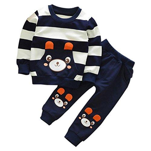FNKDOR 2-5 Jahre Kinder Baby Mädchen Jungen Kleidung Gestreiften Bär Langarmshirt + Hosen Outfits Set(4 Jahre,Navy) (Baumwolle Schlaf-hose Feste)