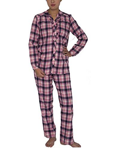 Raikou Damen-Baumwolle Plaid Pyjama Set Langarm Knopf Nach Unten Flanell Lounge Nachtwäsche (36/38, Rosa) (Damen Flanell Lounge-hose)