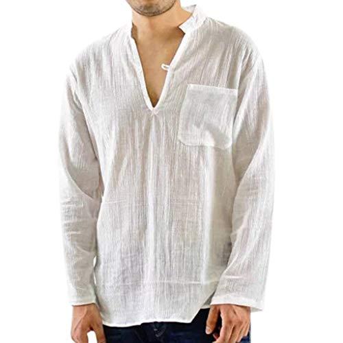 CICIYONER Herren Hemd Casual Langarm Leinenhemd Henley Shirt Daily Look Leinenhemden Sommer Tops Schwarz Weiß Marine M L XL XXL XXXL (Raglan Top Henley)