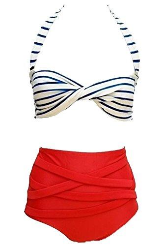 Mujer Traje De Baño Bikini Vendimia Rockabilly Alto Cintura Retro Bik
