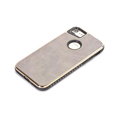 JIALUN-Telefon Fall Für IPhone 7 und 8, Dual Layer PC + TPU Ultra Leder Haut Hybrid Shell Cover Case [Shockproof] ( Color : Blue ) Gray