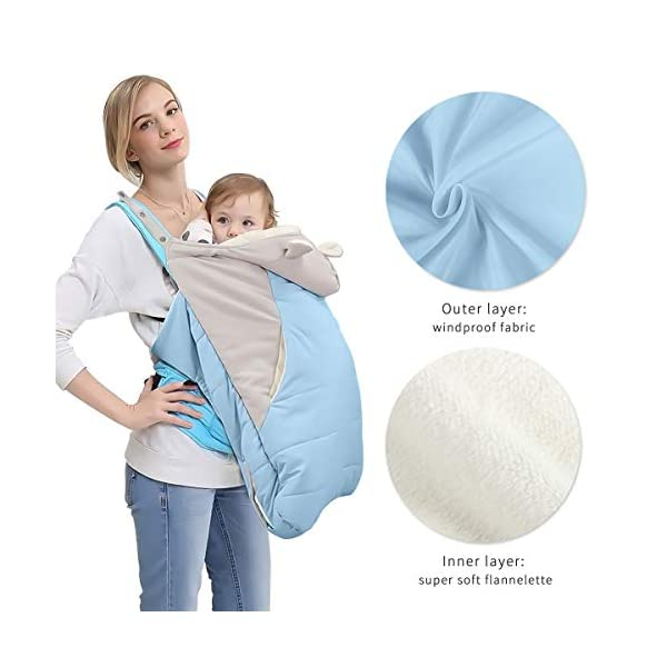 SONARIN All Seasons Weather Thick Cover for Baby Carrier,Cloak for Winter Warm,Fit Any Baby Carrier,Windproof,Waterproof(Blue) SONARIN Material:The designer carefully selects high-quality polyester, and the inside is made of cotton velvet, which is windproof and warm. Size: 60*58CM (23.6*22.8 inches). Applicable to All:Front or backpack carrier or hipseat carrier. This baby carrier cover is easily to snaps onto any baby carrier. It can also be used as a blanket, quilt with baby stroller. Quality and Design:The cloak has two openings that allow the baby's feet to stretch.The cover can be adjusted according to each baby's body shape.Big convenience pocket keeps parent's hands warm and it's roomy enough to easily keep the daily things such as cell-phones, keys and so on. 6