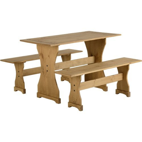 mexican-distressed-waxed-pine-dinette-set-table-and-two-benches-by-corona