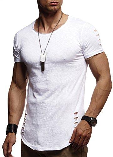 LEIF NELSON Herren Jungen Männer T-Shirt Hoodie Sweatshirt Crew Neck Rundhals Ausschnitt Kurzarm Longsleeve modernes Basic Shirt Vintage 100% Baumwolle-Anteil LN1-10933T; Größe S, Weiss
