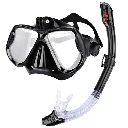KZKR Trocken Schnorchelset Taucherbrille Schnorchelmaske Anti-Fog Tauchmaske Professionelle Panorama-Weitblick für Erwachsene