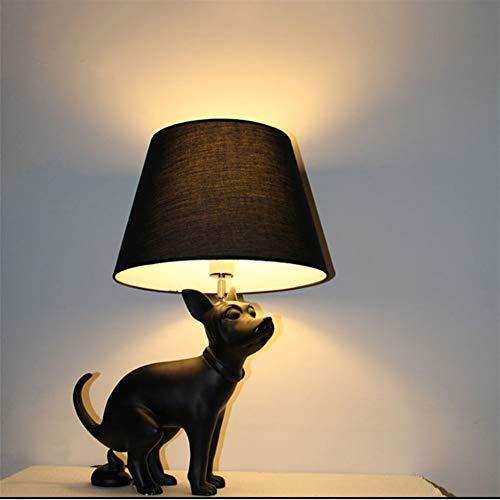 XUMINGTD Kreative Stehlampe Dekoration Tischlampe Harz Tuch Abdeckung Großen Hund Stehlampe Wohnzimmer Hotel Club Art Schwarz Hund Tischlampe (Size : Puppy) - Dachboden Treppen Abdeckung