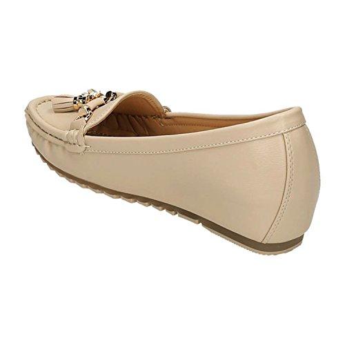 Klassische Bequeme Damen Mokassins Slipper Loafers Schuhe Flats Profilsohle M1 Beige