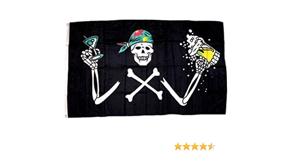 Fahne Pirat The Time Flies When You are Having Rum Flagge Piraten Hissflagge 90x