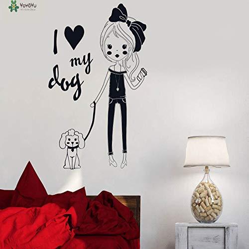 nkfrjz Aufkleber Ich Liebe Meinen Hund niedliche Cartoon-Mädchen-Haustier-Wandaufkleber wandaufkleber kinderzimmer 57X79CM -