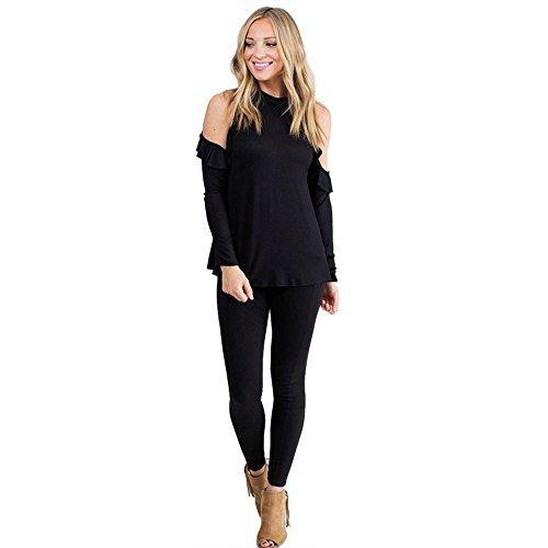 Bekleidung Tops Loveso Sommerkleider Herbst Kleidung Damen Elegante Einfarbig Schulterfrei Trägerlos Lange Ärmel Rundhals Mod Top Bluse T-shirt ((Größe):38 (L), Schwarz) (Shirt Top Mod)
