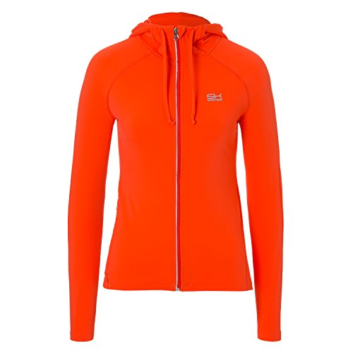 Sportkind Mädchen & Damen Tennis/Fitness/Sport Joggingjacke mit Kapuze, orange, Gr. S