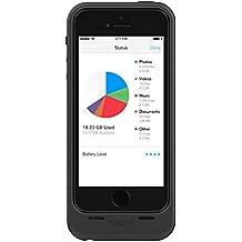 mophie Space Pack Schutzhülle mit integriertem 1700mAh Akku und 32GB Speicher für iPhone 5/5s – Schwarz