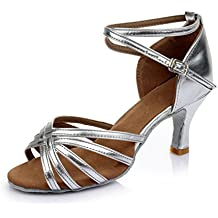 VESI-Zapatos de Baile Latino de Tacón Alto/Medio para Mujer