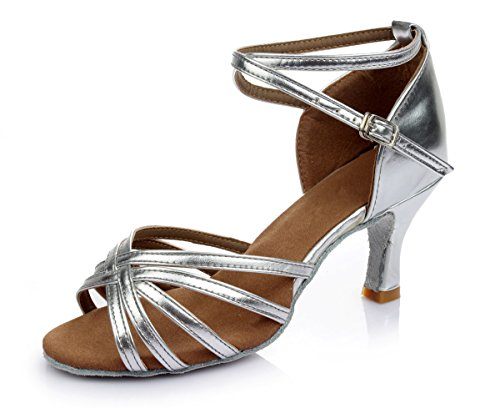 VESI - Damen schuhe Standard/Latein 5cm/7cm Absatz Silber 39 (Silber 2 Leder-schuhe)