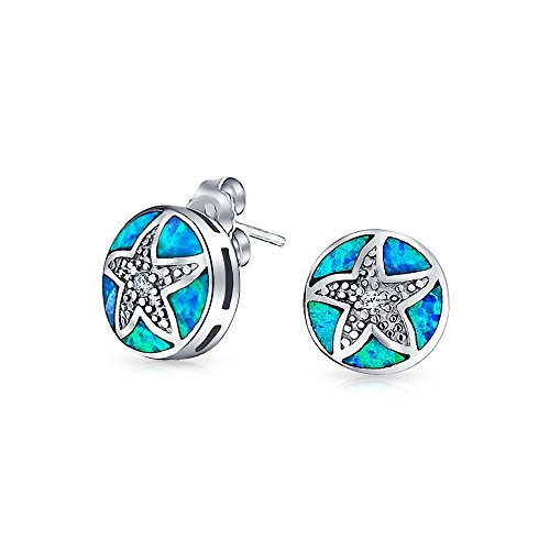 Bling Jewelry Sterling Silber CZ synthetische Blue Opal Inlay Starfish nautische Ohrstecker
