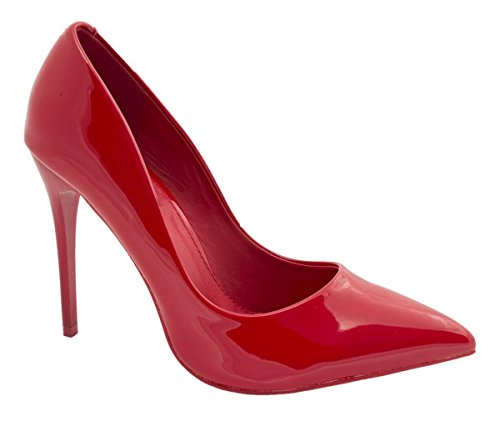 Elara Spitze Damen Pumps | Bequeme Lack Stilettos | Elegante High Heels Rot Pearl