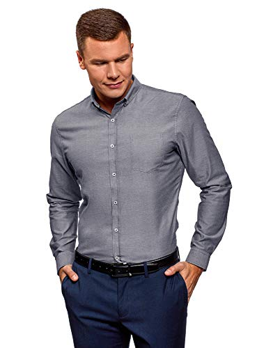 Oodji ultra uomo camicia basic slim fit in cotone, grigio, 41cm / it 48 / eu 41 / m