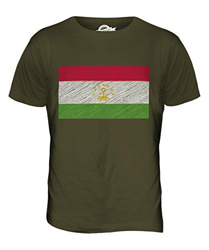 CandyMix Tadschikistan Kritzelte Flagge Herren T Shirt Khaki Grün