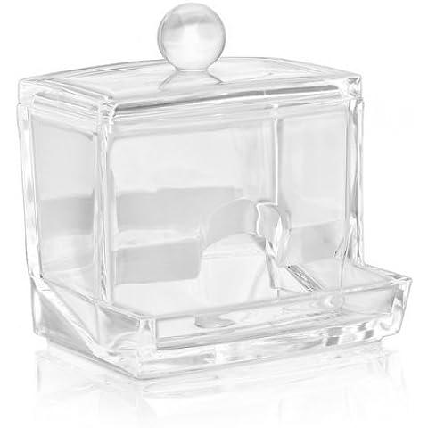 FACILLA® Torunda de algodón acrílico transparente maquillaje soporte de almacenamiento caso Stick caja rack [MISC.]
