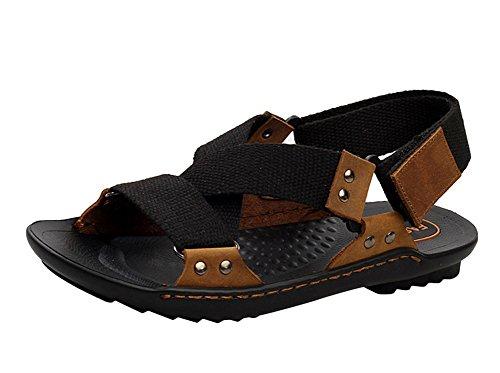 insun hommes de Croix en cuir Toile Sangle Sandale Noir - noir