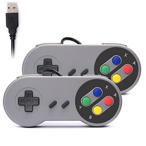 Rii GP100 SNES Retro USB Super Nintendo Controller, USB PC Controller, Raspberry Pi Controller for Windows PC / MAC / Raspberry Pi (2 Pack)