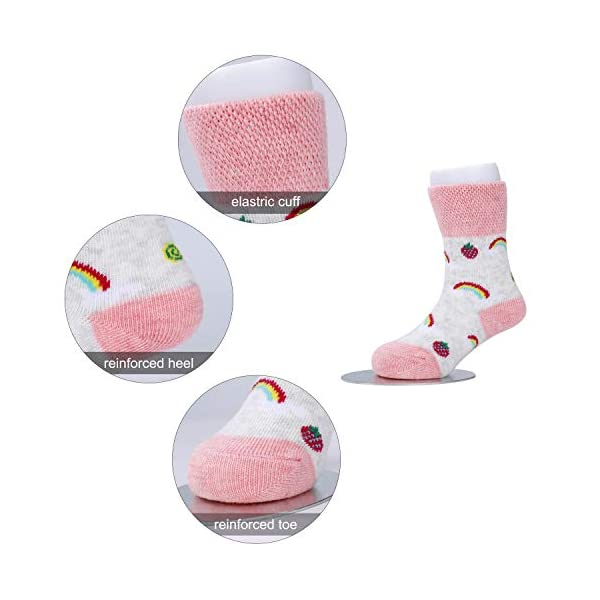 Calcetines de Bebé 5 Pares Cute Calcetines Antideslizantes de Algodón Surtidos Animal Print para Bebés Niñas y Niños 5
