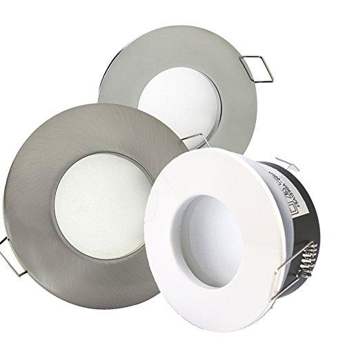 6er-Set Bad LED-Einbaustrahler AQUARIUS 230V - IP65 - inkl. austauschbarem LED-Leuchtmittel 5 Watt (= 6 x 60 Watt Halogen) in Warm-Weiß; Farbe: Edelstahl gebürstet - Feuchtraum - SMD