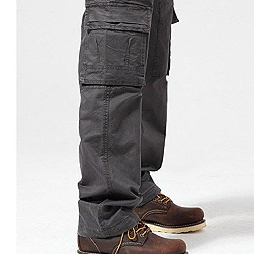Feoya Herren Arbeitshose Wasserwäsche vintage Cargohose Mehrere Tasche Hosen aus Baumwolle Trekkinghose Loose-Fit Outdoor Freizeithose Grau
