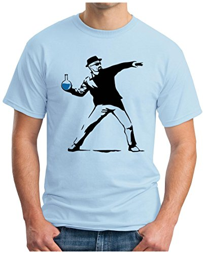 OM3 - WALTER METH BOMBER - T-Shirt Banksy Flower Thrower Breaking Crystal Meth Cook Parodie Geek Fun USA, S - 5XL Hellblau