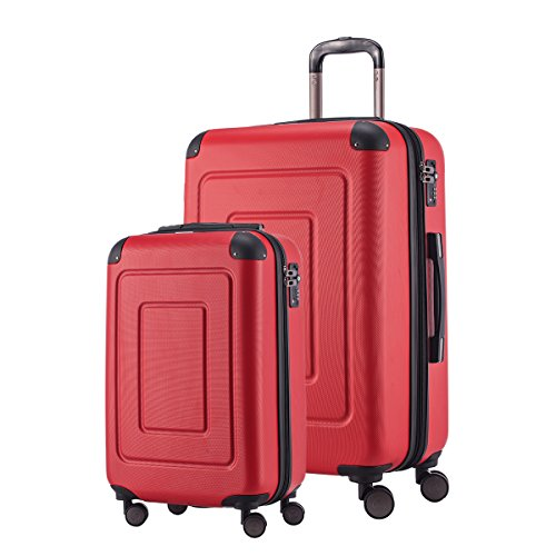 Happy Trolley Koffer-Set Hartschalen-Koffer Lugano, 20`+24`Zoll, 44L+78L, Rot