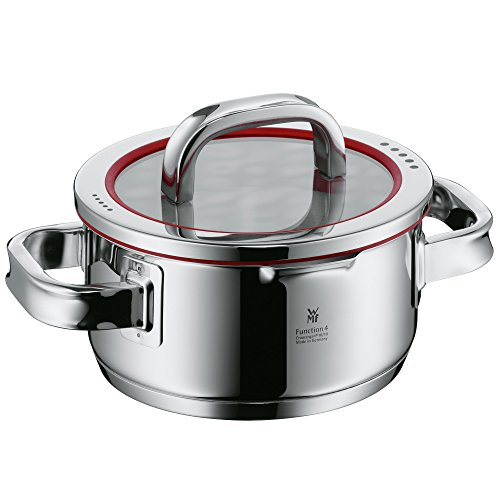 Wmf Cookware Ø 16 Cm Approx. 1, 4l Function 4 Inside Scaling Lid - Pour Off Or Decant Liquids Without Spilling To Keep Your Dishes And Cooker Clean. Made In Germany Hollow Side Handles Glass Lid Cromargan Stainless Steel Brushed Suitable For All Stove T