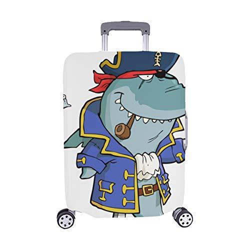 Cartoon Piratenhai Mit Schiffswrack Muster Spandex Trolley Reisegepäck Beschützer Koffer Abdeckung 28,5 X 20,5 ()