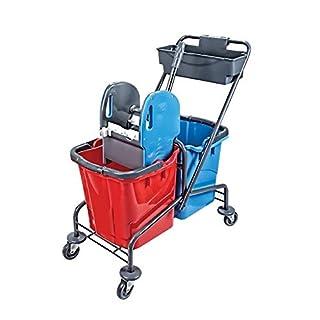 Aviva Pro 54 Reinigungswagen - Wischwagen - Putzwagen - lackiert - 2 x 25 Liter Eimer mit Profi Presse inkl. Ablagekorb neues Model Qualität