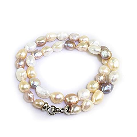 Elodie - Large Multi Colour Potato Pearls - Freshwater Pearl Necklace - Pink, Purple and Gold