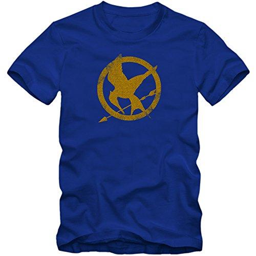 The Hunger Games T-Shirt | Men | Fantasy | Science Fiction Film | Film Fun Shirts, Colour:Blue (Royal Blue);Size:Large