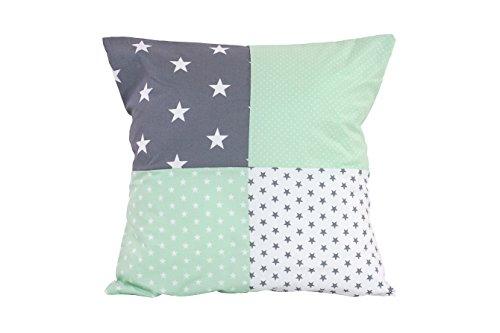 BEBILINO ® Patchwork Kissenbezug Mint Grau (40x40 cm Kissenhülle, 100% Baumwolle, ideal als Dekokissen, Kinderzimmer Zierkissen, Motiv: Sterne)