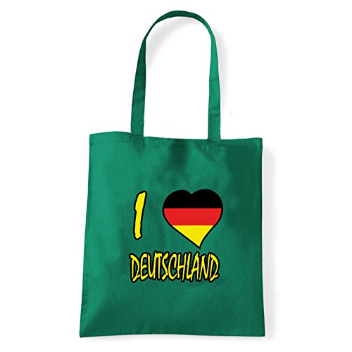 Art T-shirt, Borsa Shoulder I Love Deutschland, Shopper, Mare Verde