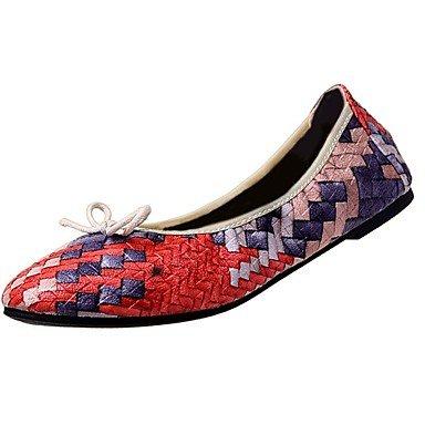 Shoeshaoge Chute Des Chaussures De Femmes En Cuir Confort Talons Plats À Bout Plat Bout Rond Pour Décontracté Rouge Bleu Gris Robe Rouge
