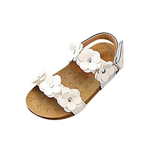 FNKDOR Baby Kinder Mädchen Sandalen Blumen Prinzessin Sommer Strandschuhe(29,Weiß)