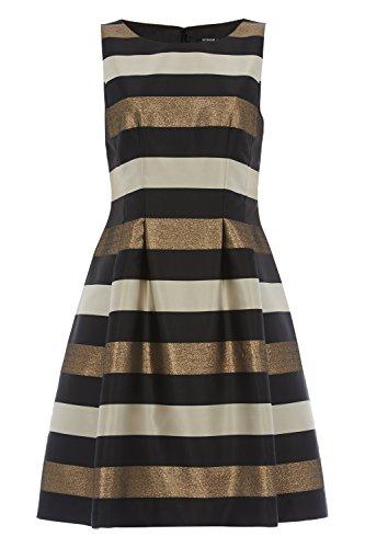 Roman Originals Women's Striped Skater Dress Gold UK Size 10-18