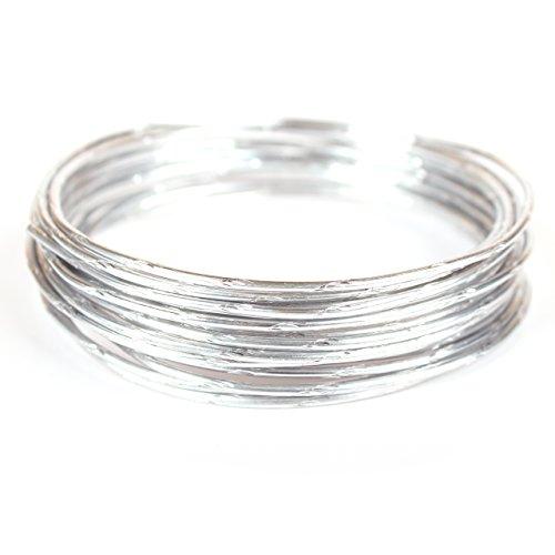 Creacraft Aluminium-Effektdraht 5m Rolle - Schmuckdraht und Basteldraht (Wellenstruktur 1, Silber)