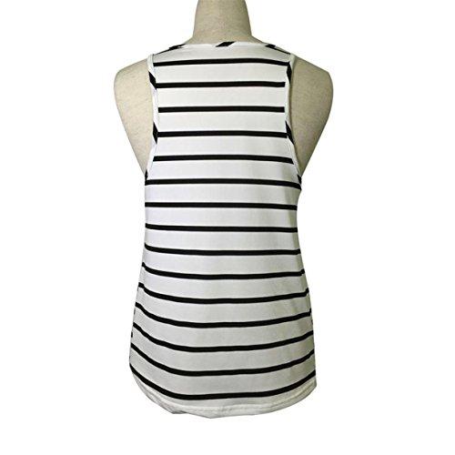 CYBERRY.M Femme Fille Sans Manches Lâche Rayé Tank Débardeurs T-Shirt Vest Blouse Blanc