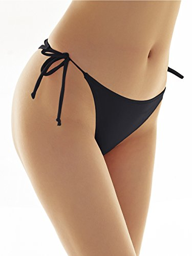 SHEKINI Damen Tie Side Bikinihosen Brazilian String Rüsche Bikini Tanga Bikinihose Raffung Hinten Thong Schwarz